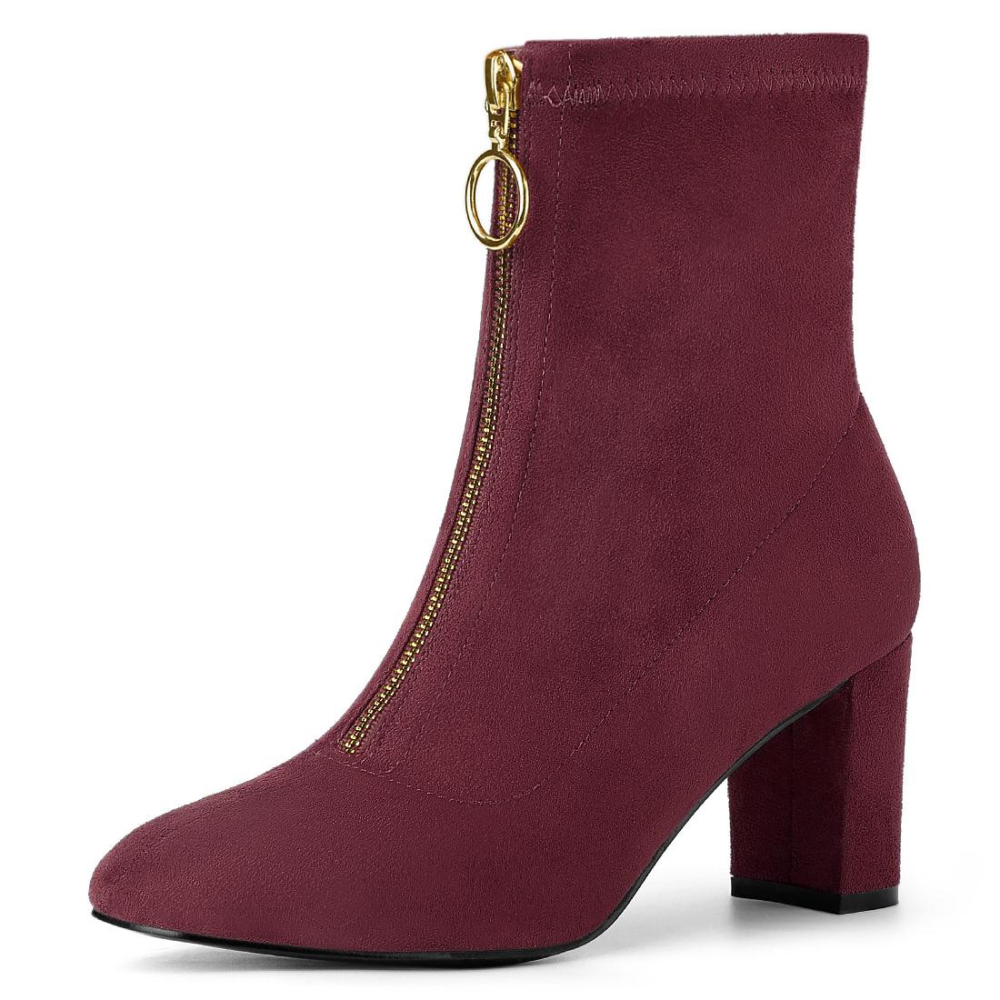 Allegra K Women's Front Zipper Chunky Heel Ankle Boots Burgundy US 7
