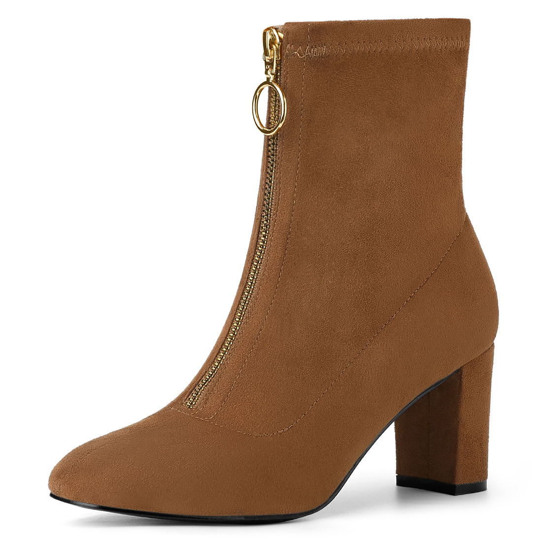 Allegra K Women's Front Zipper Chunky Heel Ankle Boots Brown US 10