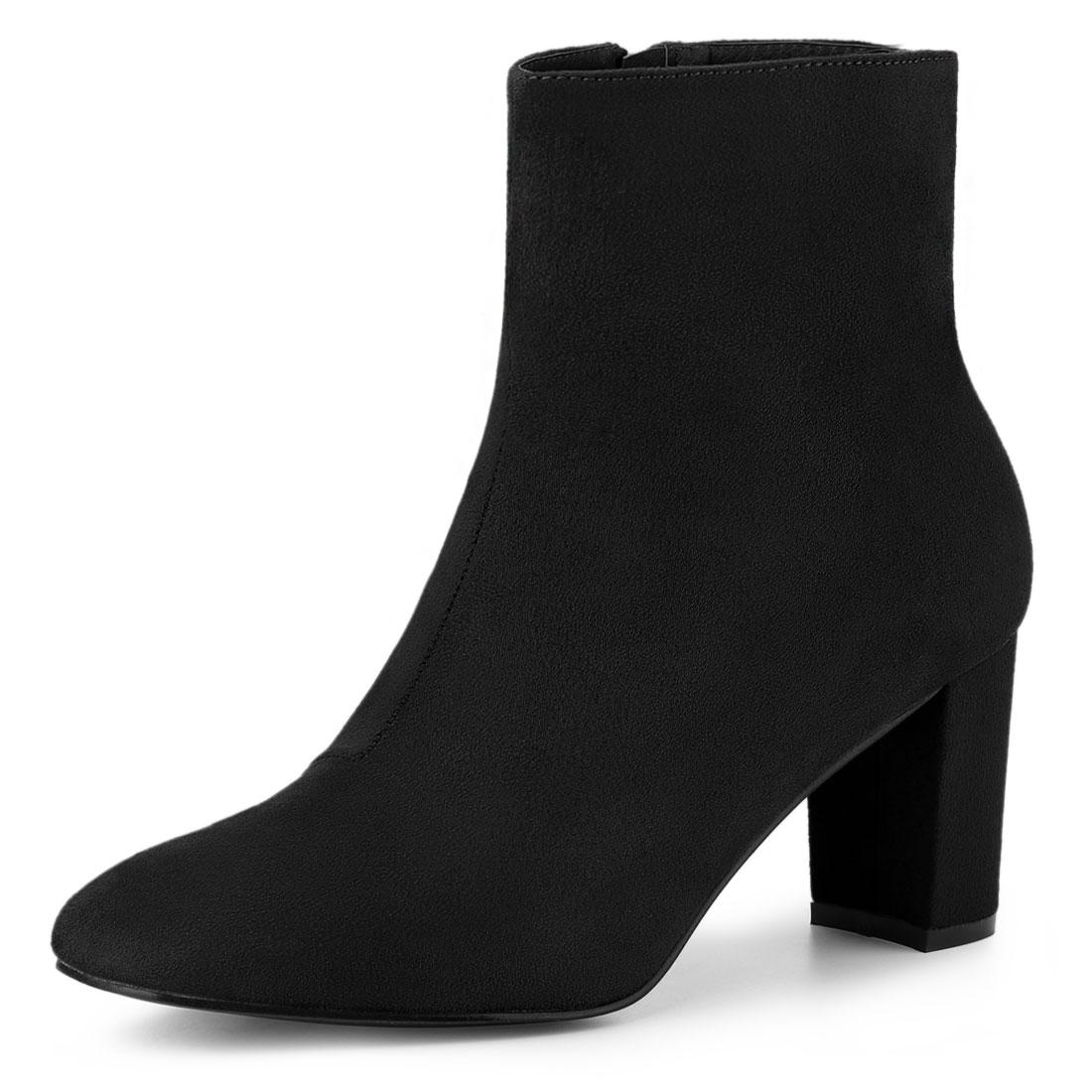 Allegra K Women's Dress Side Zip Chunky Heel Ankle Boots Black US 8