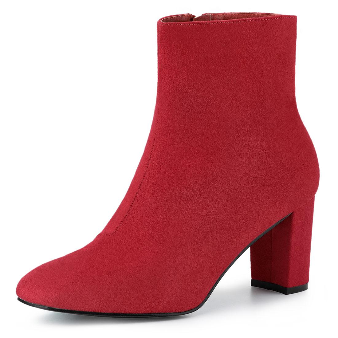 Allegra K Women's Dress Side Zip Chunky Heel Ankle Boots Red US 8