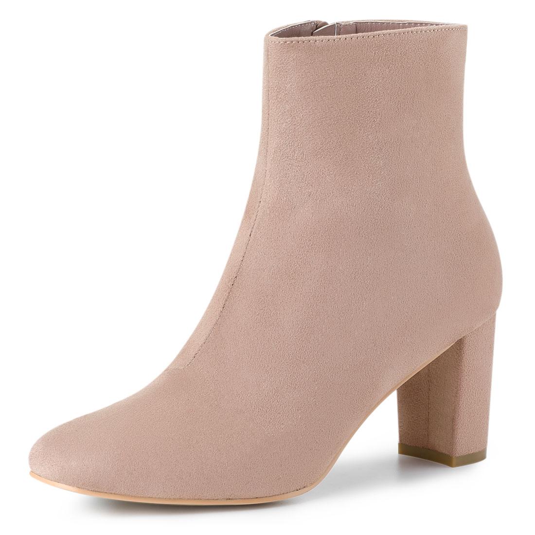 Allegra K Women's Dress Side Zip Chunky Heel Ankle Boots Pink US 9
