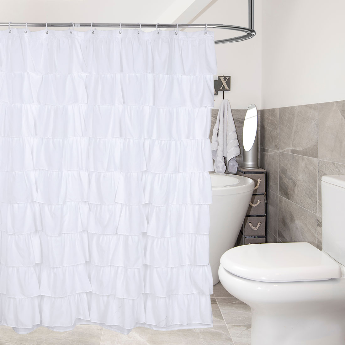 Ruffle Shower Curtain White Fabric Cloth Shower Curtains 12 Hooks, 72x72 Long