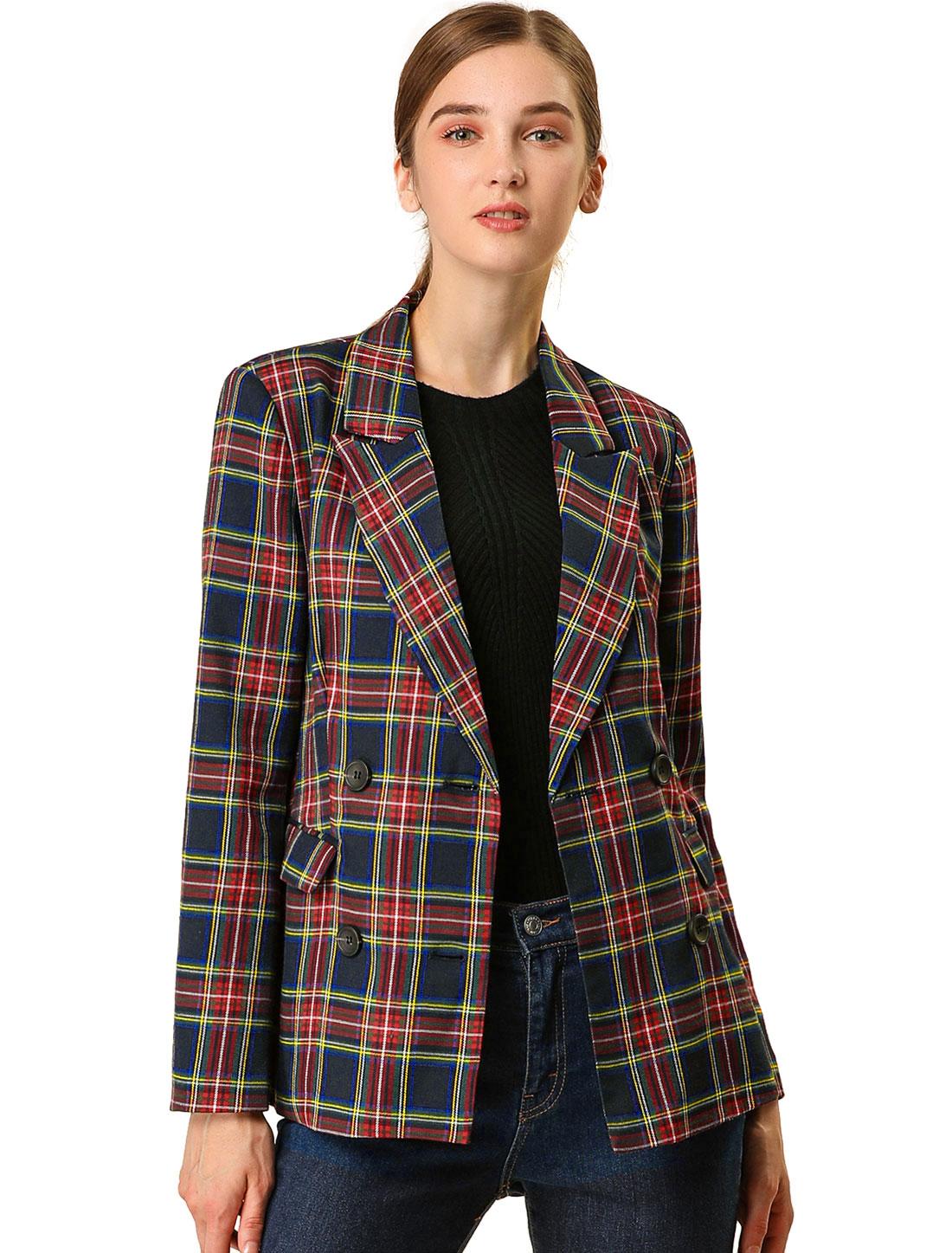 Allegra K Women Double Breasted Plaid Formal Blazer Jacket Dark Blue L