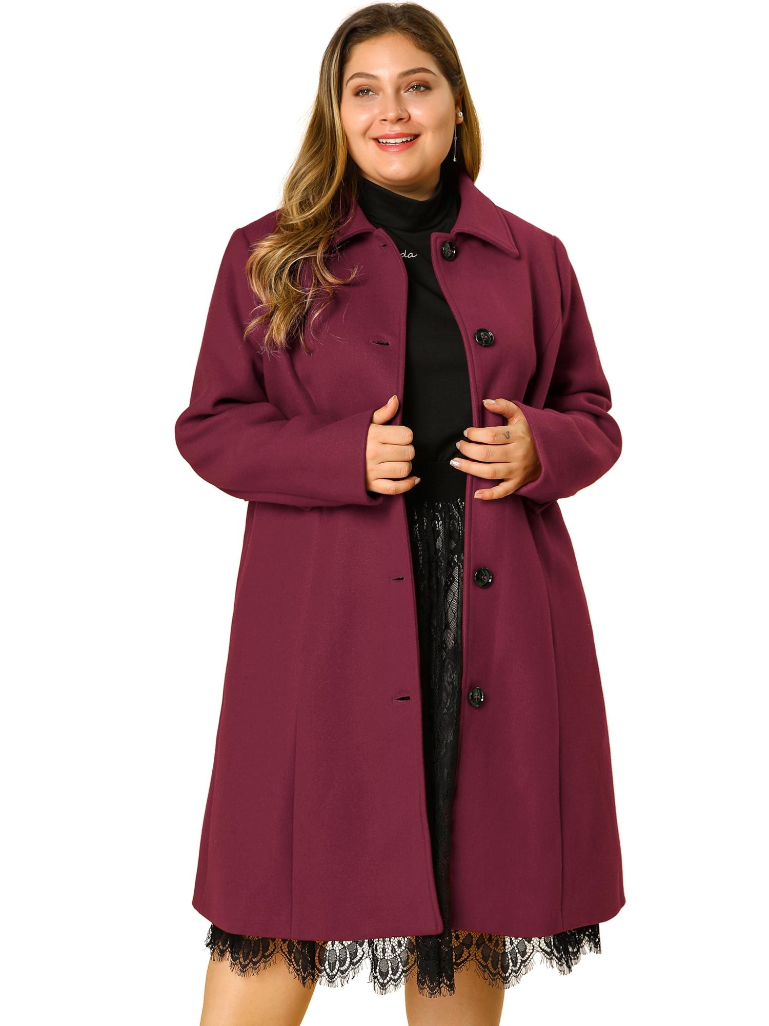 Women's Plus Size Utility Jacket Drawstring Belted Coat Burgundy 2X