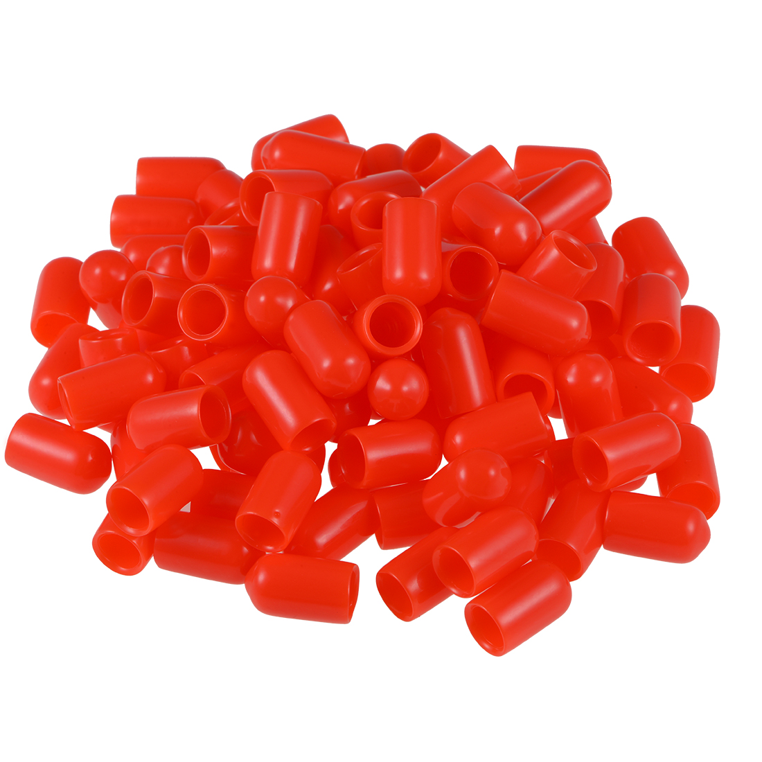 Screw Thread Protector, 7.5mm ID Round End Cap Cover Red Tube Caps 100pcs