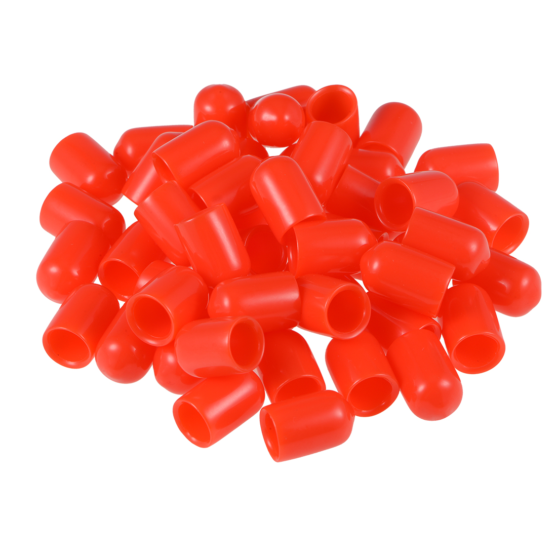 Screw Thread Protector, 8mm ID Round End Cap Cover Red Tube Caps 50pcs