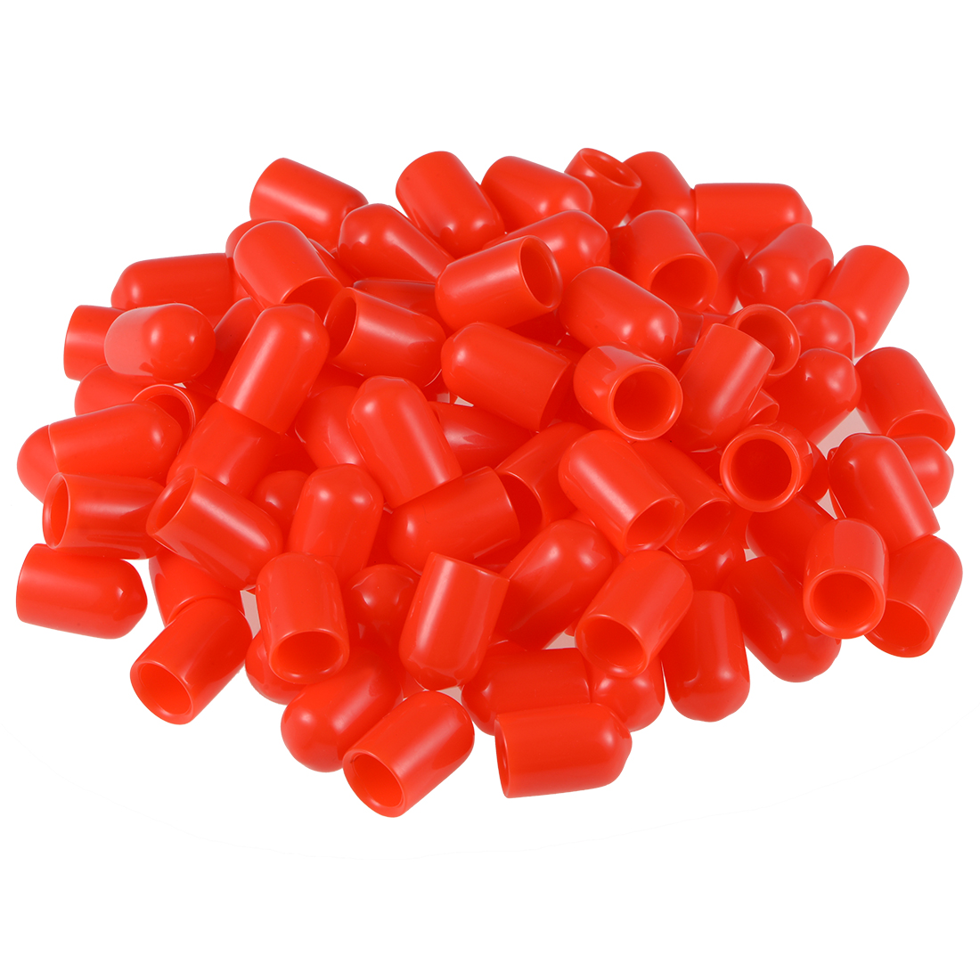 Screw Thread Protector, 8mm ID Round End Cap Cover Red Tube Caps 100pcs