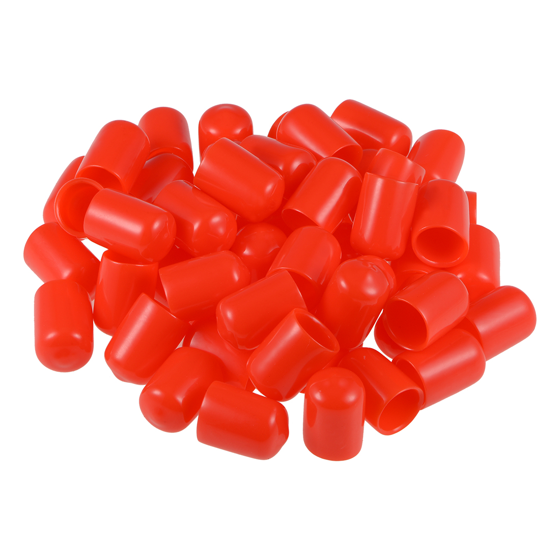 Screw Thread Protector, 12mm ID Round End Cap Cover Red Tube Caps 50pcs
