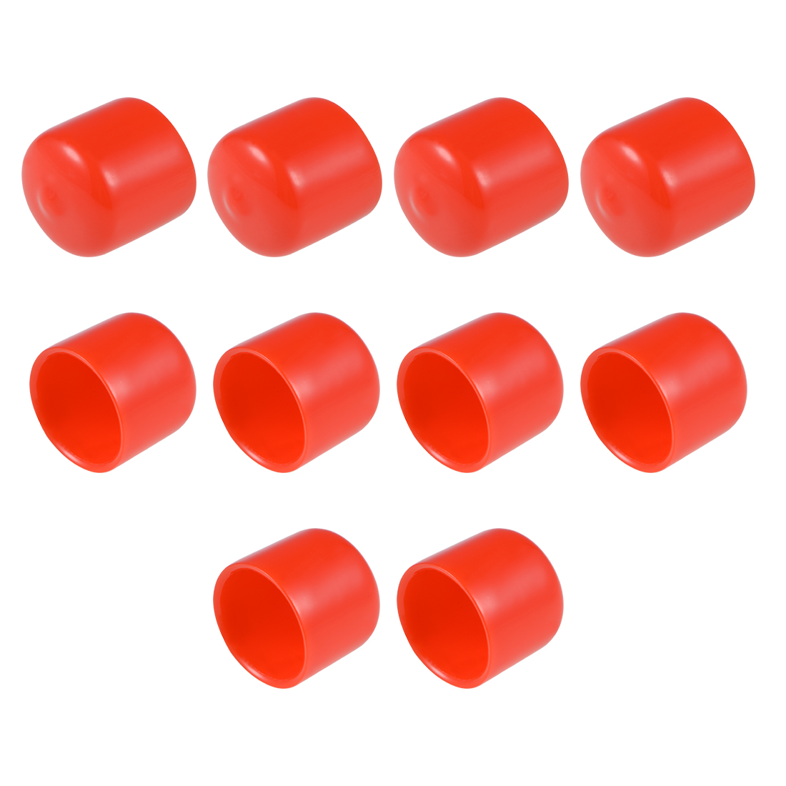 Screw Thread Protector, 22mm ID Round End Cap Cover Red Tube Caps 10pcs