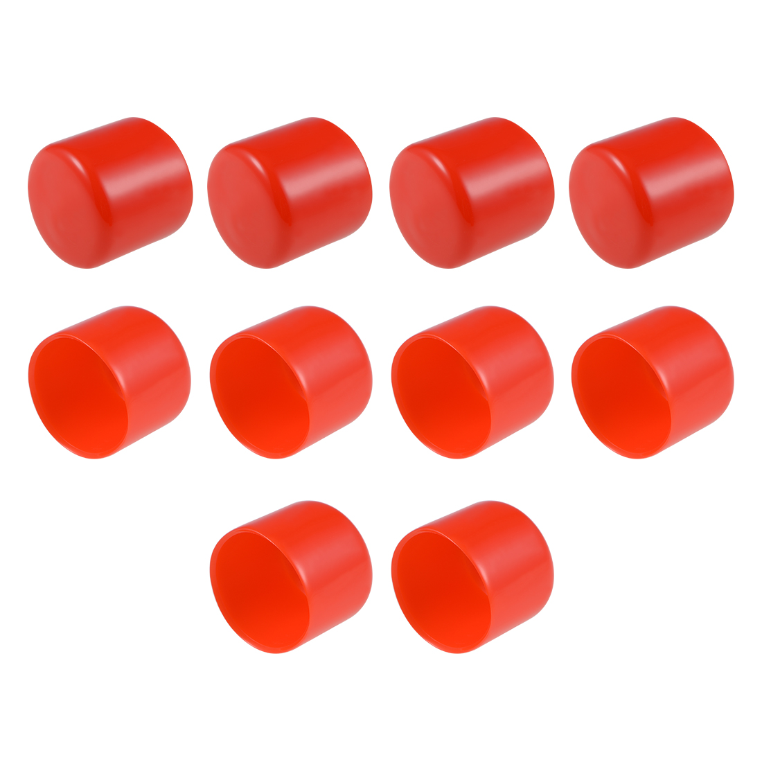 Screw Thread Protector, 36mm ID Round End Cap Cover Red Tube Caps 10pcs