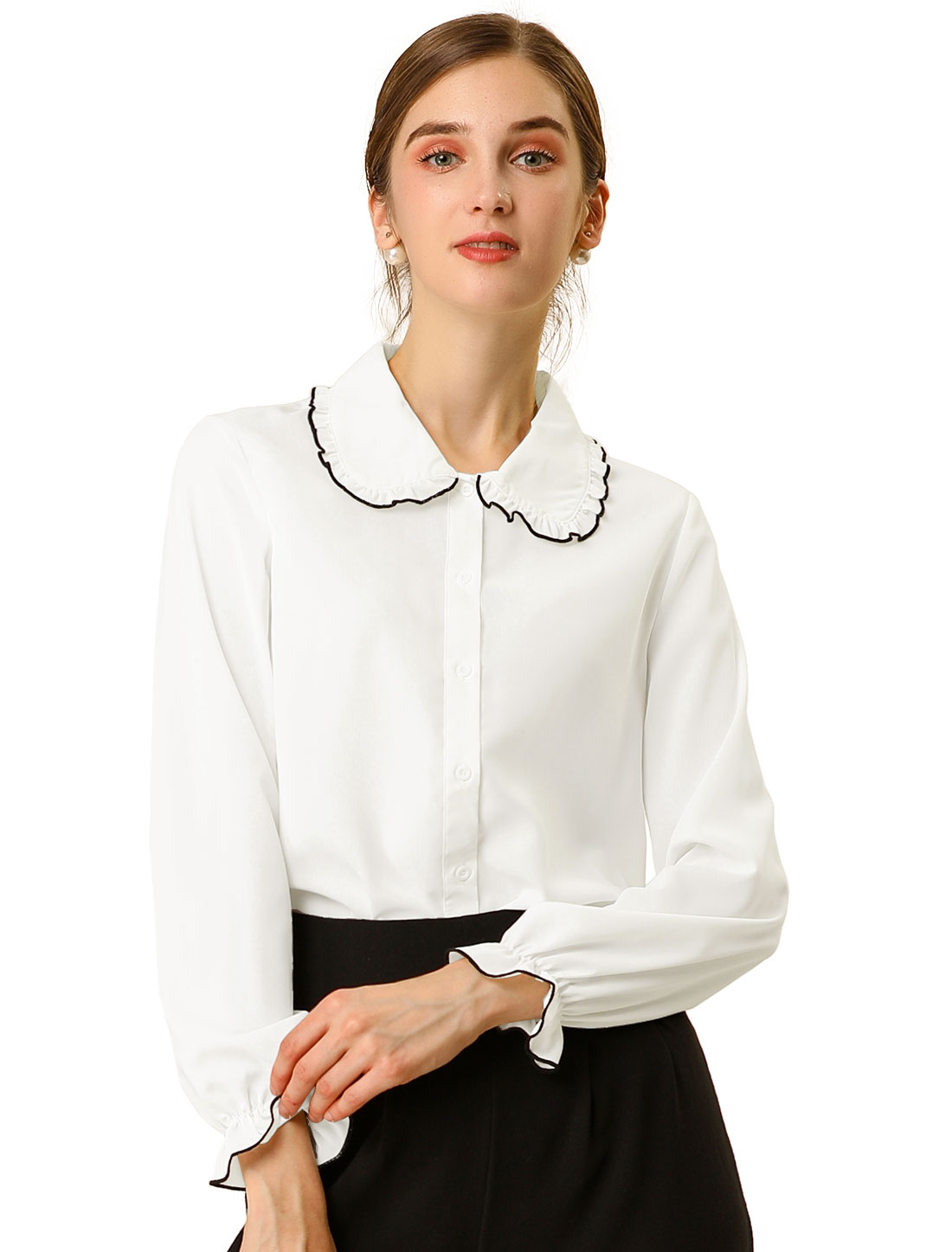 Women's Sweet Ruffle Peter Pan Collar Long Sleeves Button Up Shirt White M