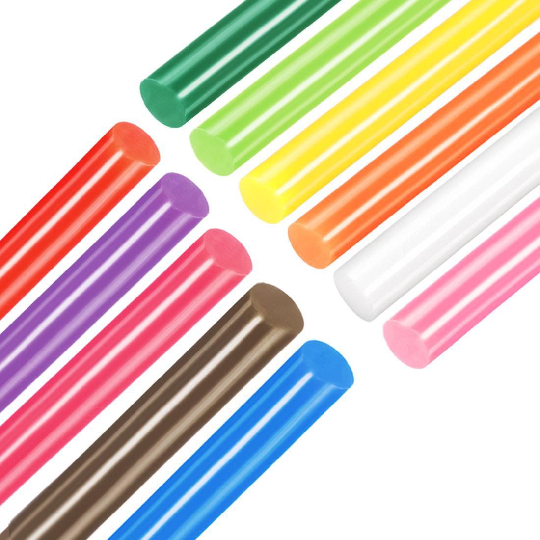 Colorful Hot Melt Glue Gun Sticks, 250mm x 7mm,Use with Most Glue Guns,11pcs