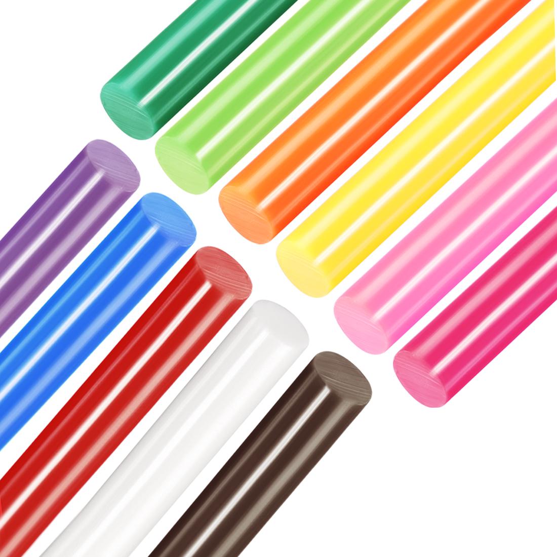 Colorful Hot Melt Glue Gun Sticks, 250mm x 11mm,Use with Most Glue Guns,11pcs