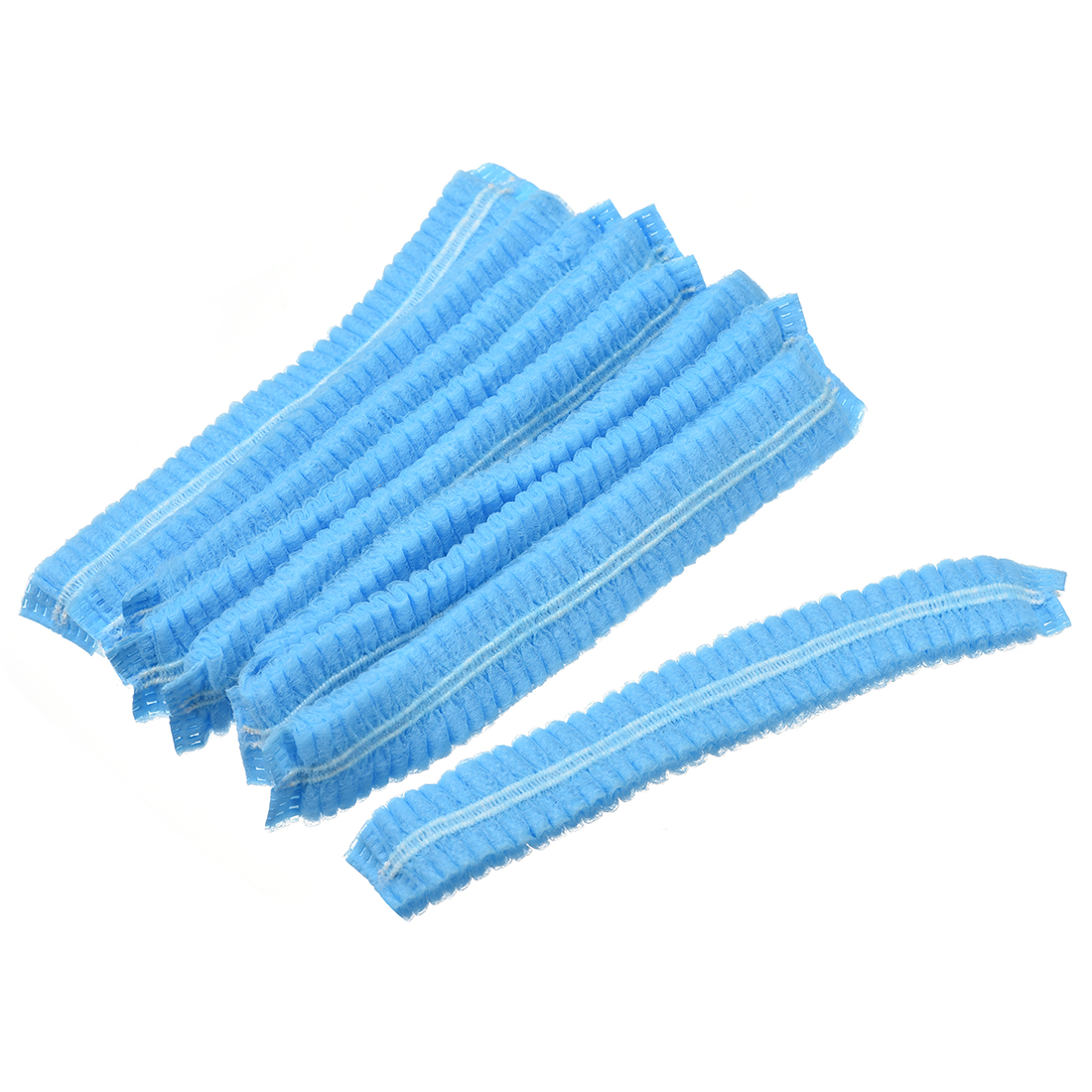 "Bouffant Caps, Size 16.9"", Hair Net, Propene Polymer, Blue, 100Pcs"
