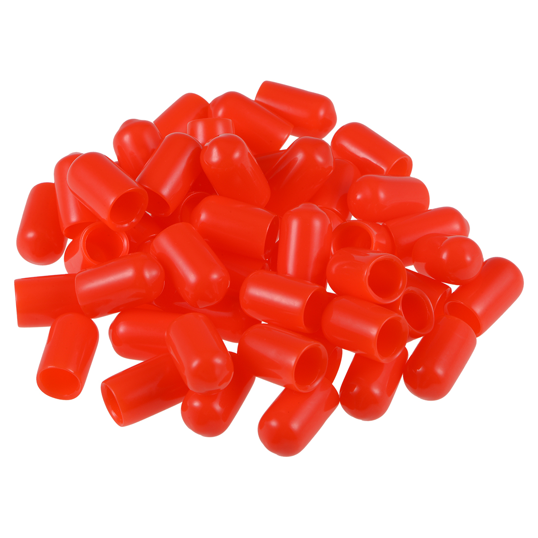 Screw Thread Protectors, 7mm ID 15mm Length Round End Cap Cover Red 50pcs