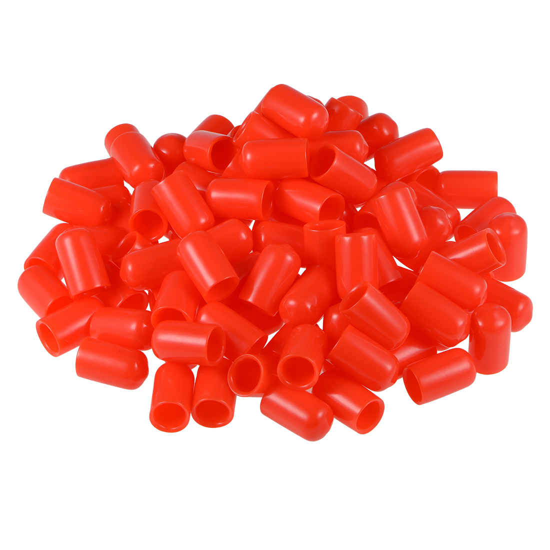 Screw Thread Protectors, 10mm ID 24.5mm Length Round End Cap Cover Red 100pcs