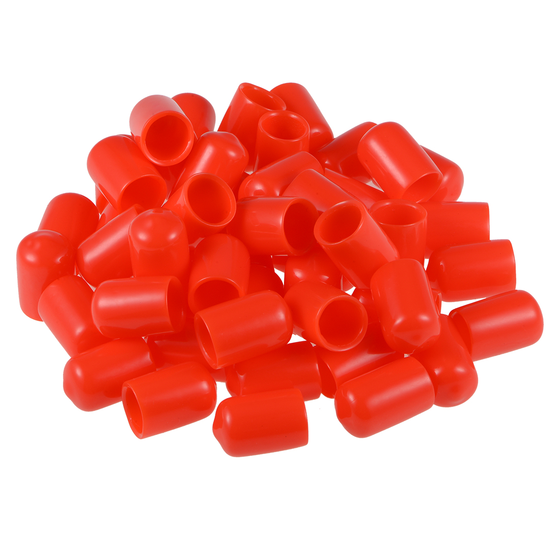 Screw Thread Protectors, 11mm ID 20mm Length Round End Cap Cover Red 50pcs