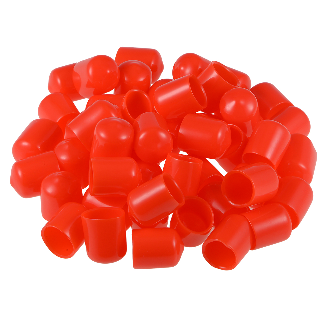 Screw Thread Protectors, 14mm ID 22mm Length Round End Cap Cover Red 50pcs
