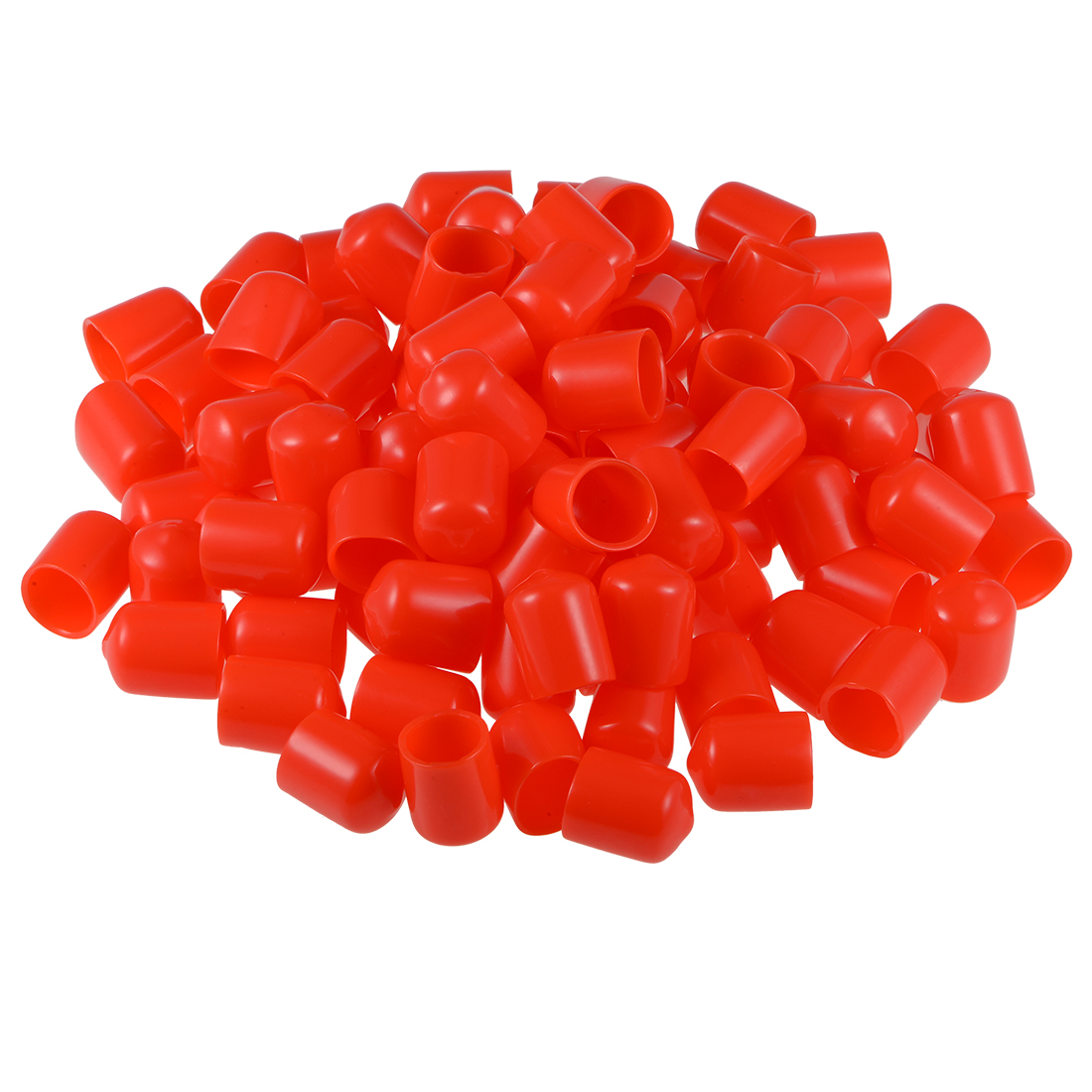 Screw Thread Protectors, 14mm ID 22mm Length Round End Cap Cover Red 100pcs