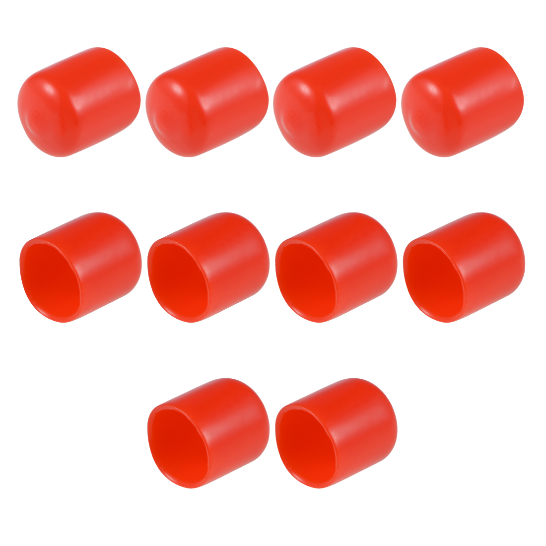 Screw Thread Protectors, 16mm ID 21mm Length Round End Cap Cover Red 10pcs