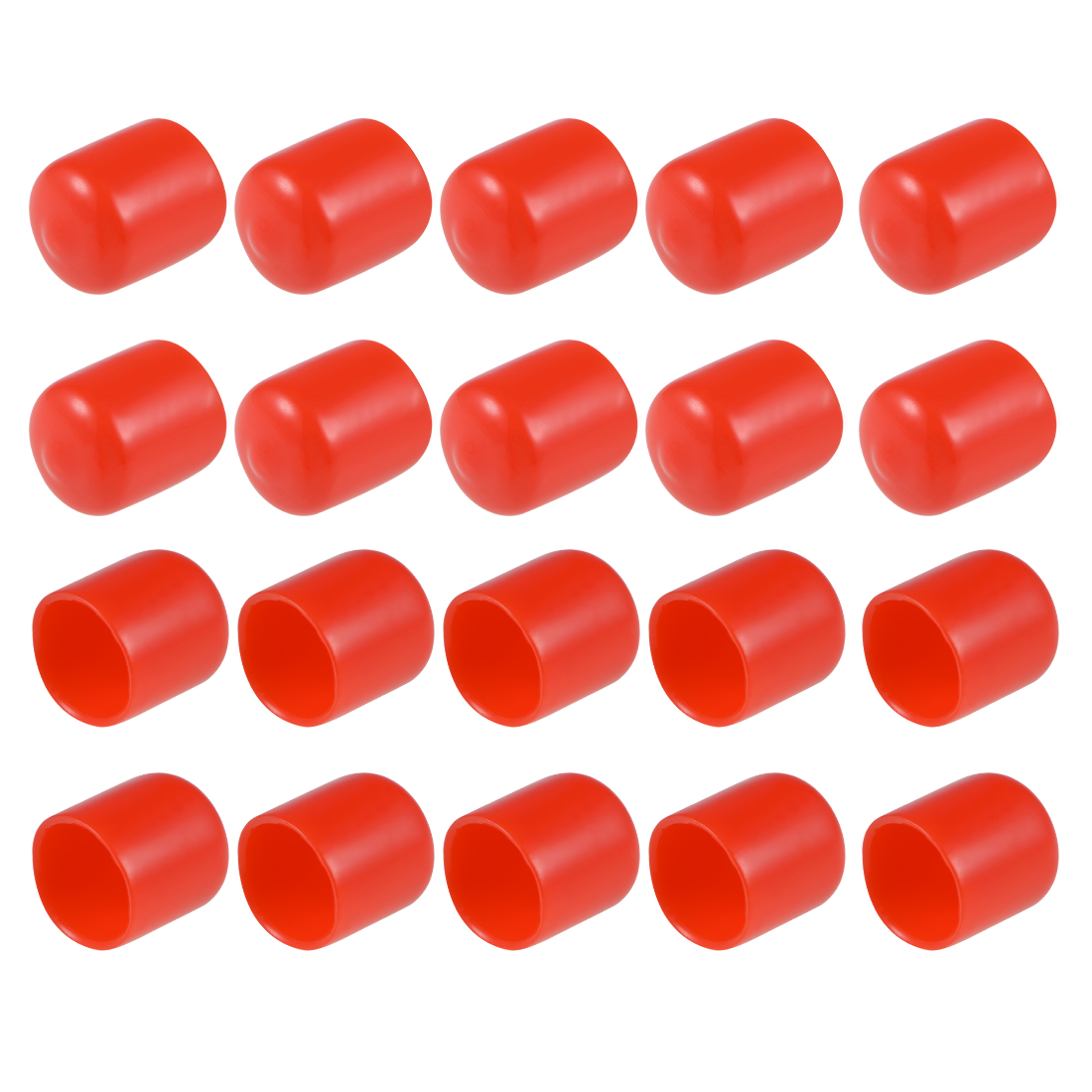Screw Thread Protectors, 17mm ID 22mm Length Round End Cap Cover Red 20pcs