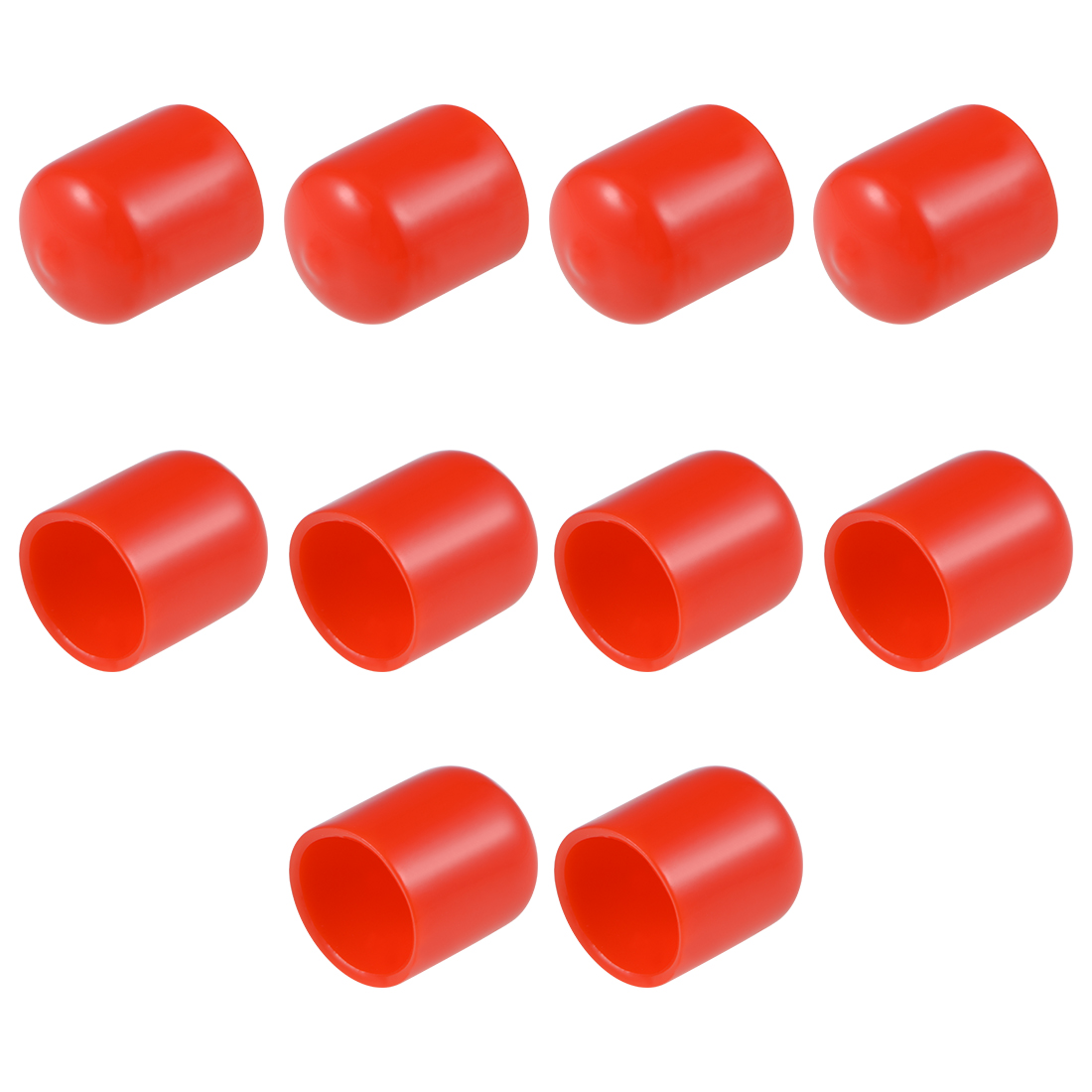 Screw Thread Protectors, 18mm ID 25mm Length Round End Cap Cover Red 10pcs