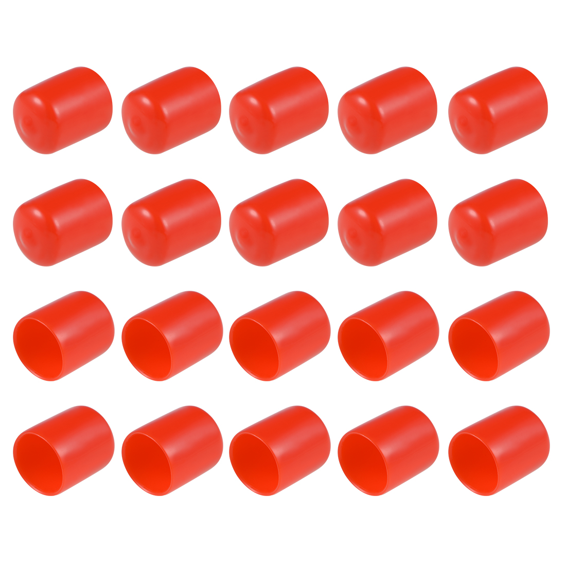 Screw Thread Protectors, 20mm ID 30mm Length Round End Cap Cover Red 20pcs