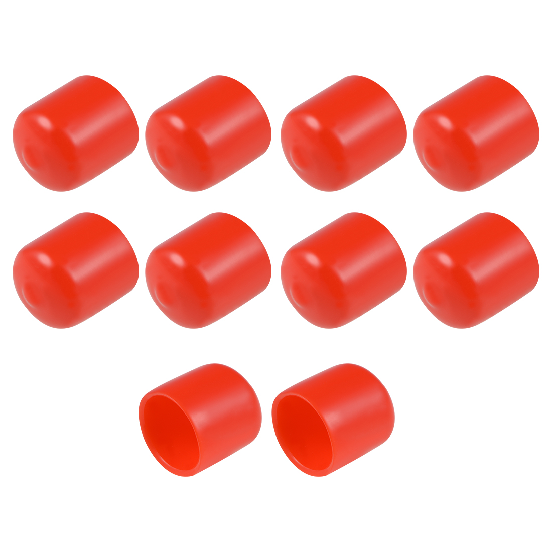 Screw Thread Protectors, 21mm ID 26mm Length Round End Cap Cover Red 10pcs