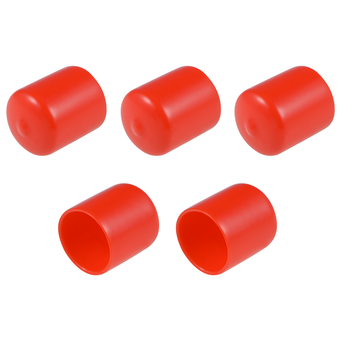 Screw Thread Protectors, 27mm ID 34mm Length Round End Cap Cover Red 5pcs