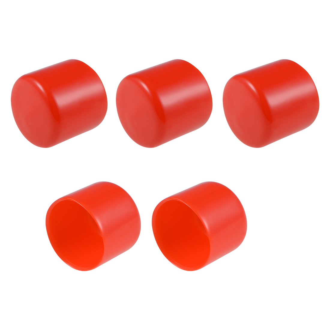 Screw Thread Protectors, 34mm ID 36mm Length Round End Cap Cover Red 5pcs