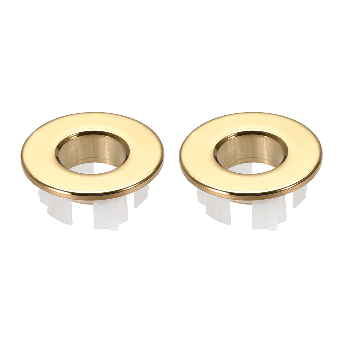 Sink Basin Trim Overflow Cover Copper Insert in Hole Round Caps Gold Tone 2Pcs