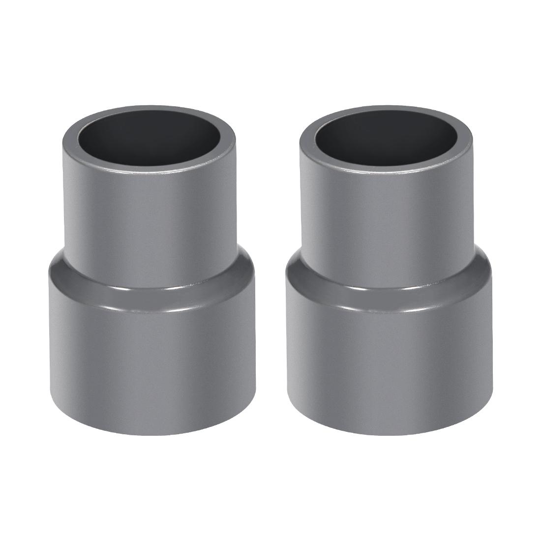 25mm x 20mm PVC Reducing Coupling Hub by Hub, DWV Pipe Fitting, Gray 2Pcs