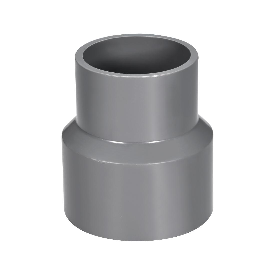 63mm x 50mm PVC Reducing Coupling Hub by Hub, DWV Pipe Fittings Gray