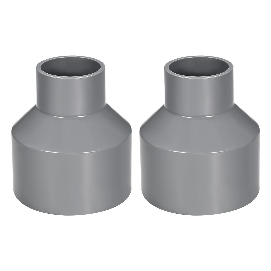75mm x 40mm PVC Reducing Coupling Hub by Hub, DWV Pipe Fitting, Gray 2Pcs