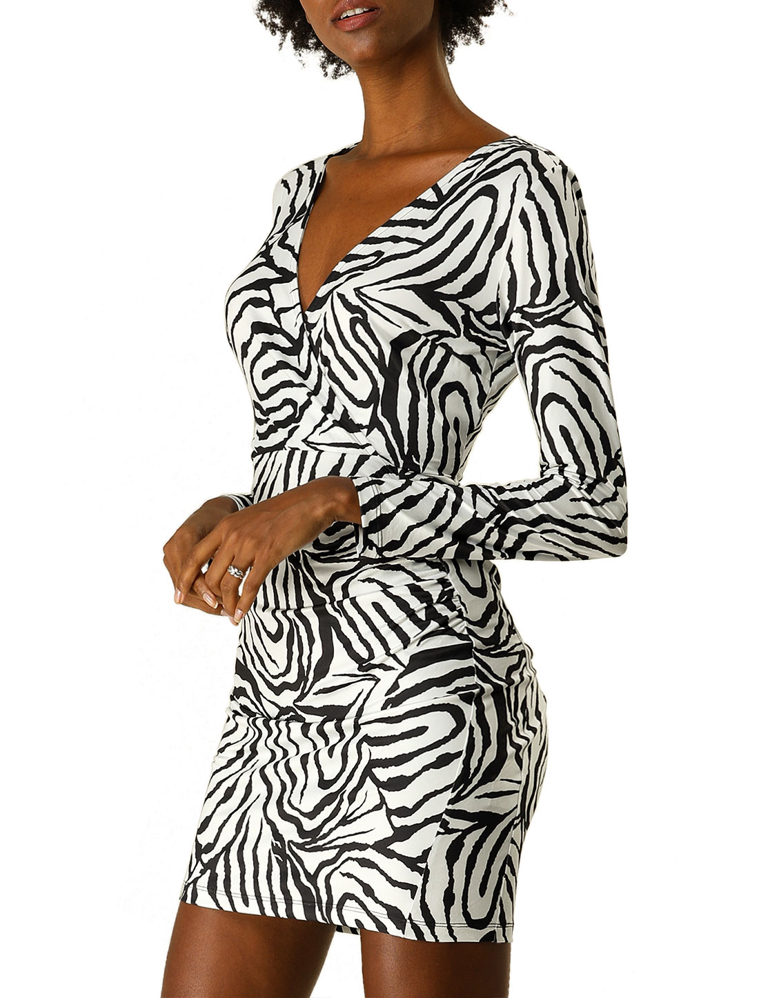 Allegra K Women's Sexy Long Sleeve Stretchy Bodycon Mini Dress Black M