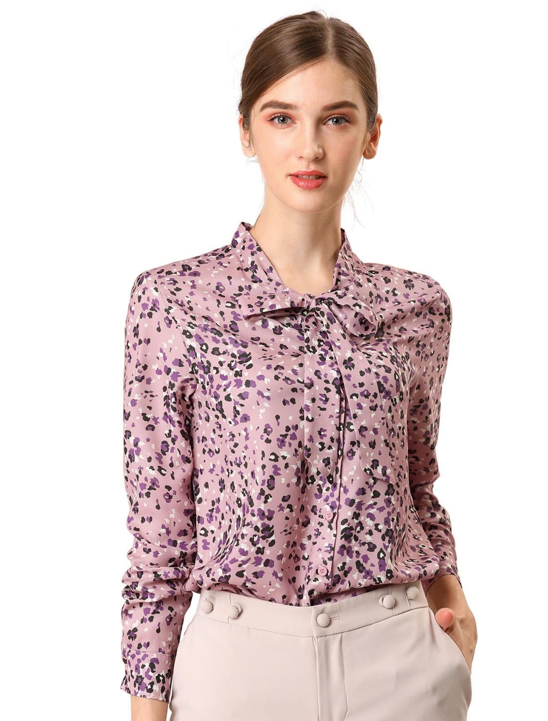 Allegra K Women's Elegant Work Floral Bow Tie Neck Button Blouse Shirt Pink S