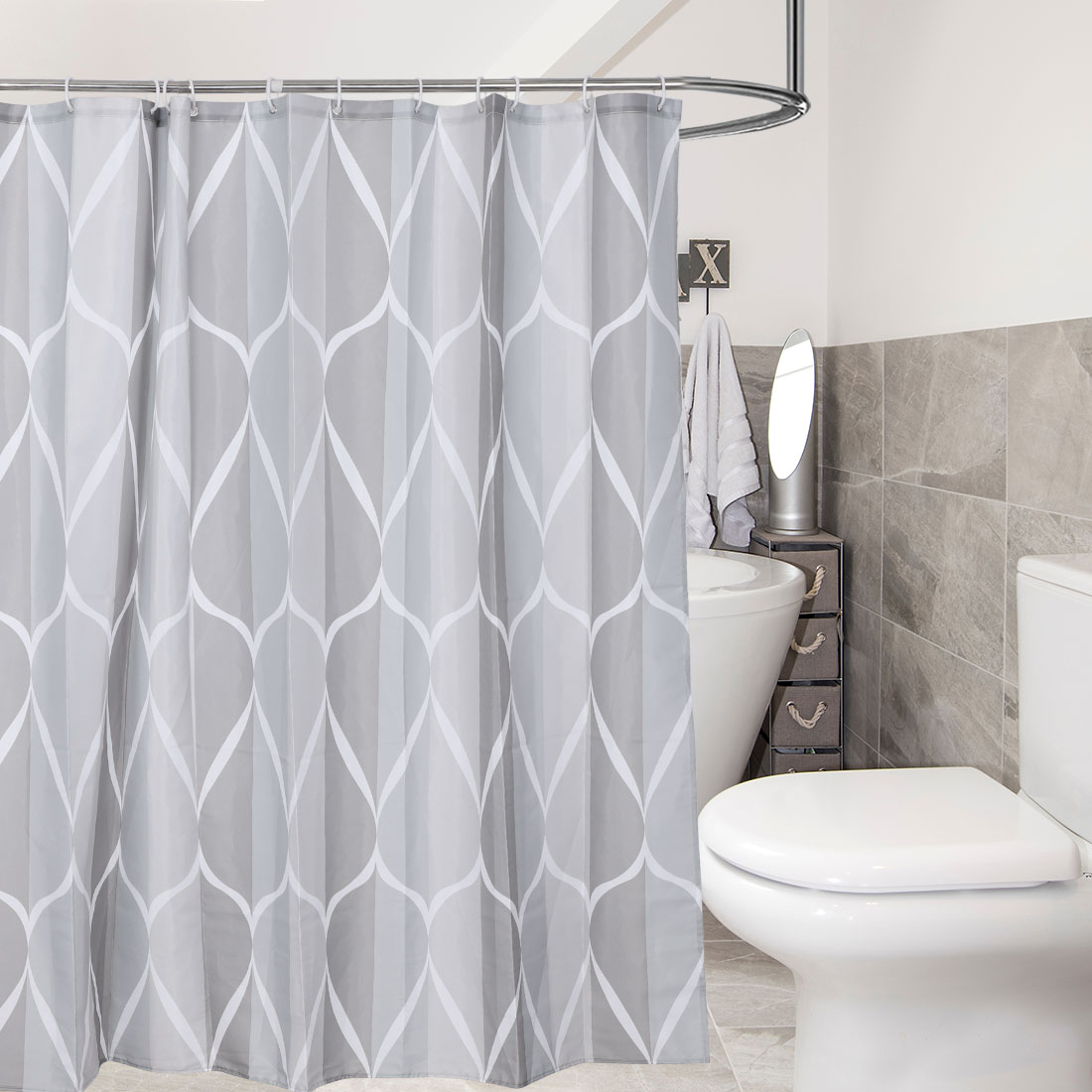"Grey Geometry Shower Curtain Polyester 72""x72"" Fabric Curtains with 12 Hooks"