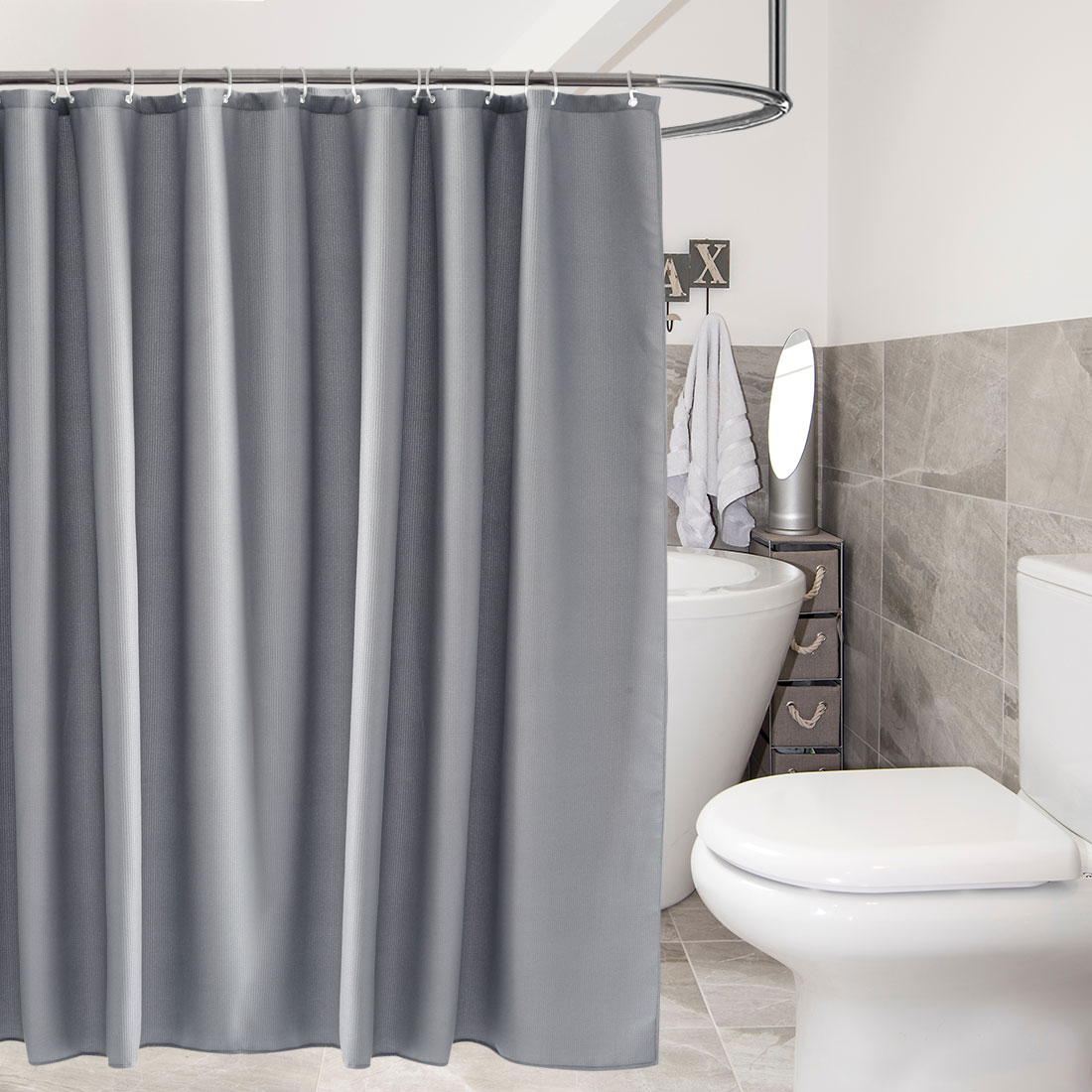 Gray Waffle Weave Shower Curtain Cotton Blend Fabric with 12 Hooks, 72x72 Long