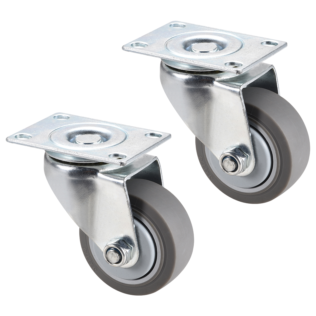 Swivel Caster Wheels 3inch TPR Caster Top Plate Mounted 220lb Capacity , 2pcs