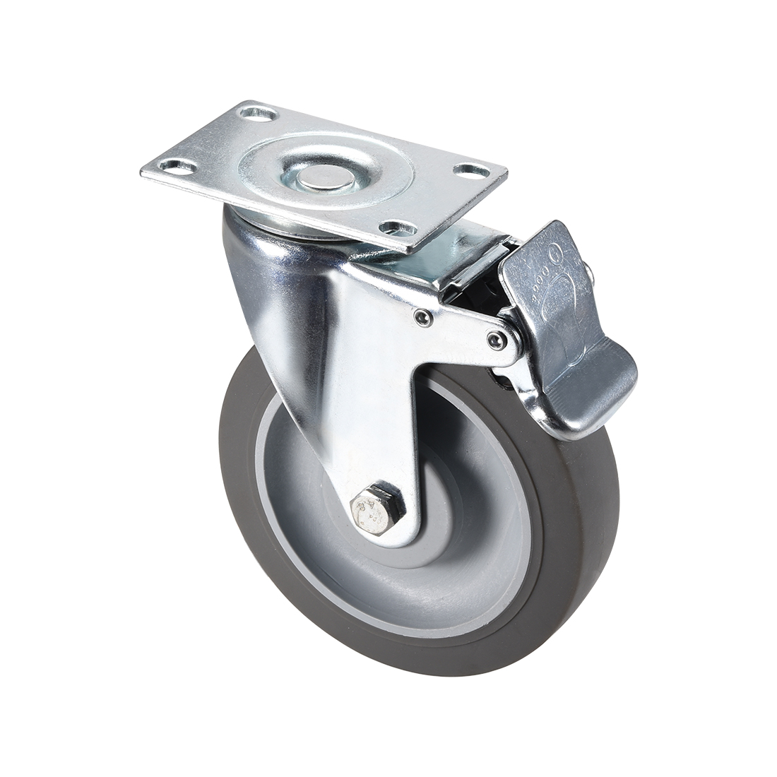Swivel Caster Wheels 5inch TPR Caster Top Plate with Brake 264lb Capacity