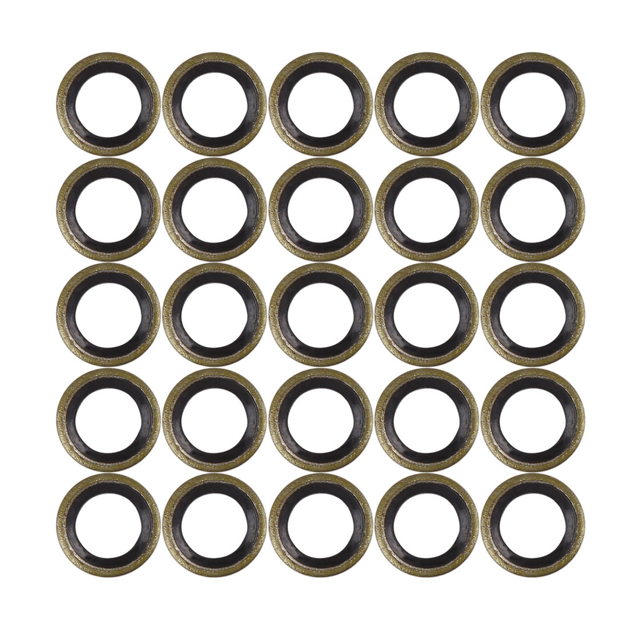 25pcs M8 Bronze Tone Car Engine Oil Drain Crush Flat Bonded Washer Gaskets