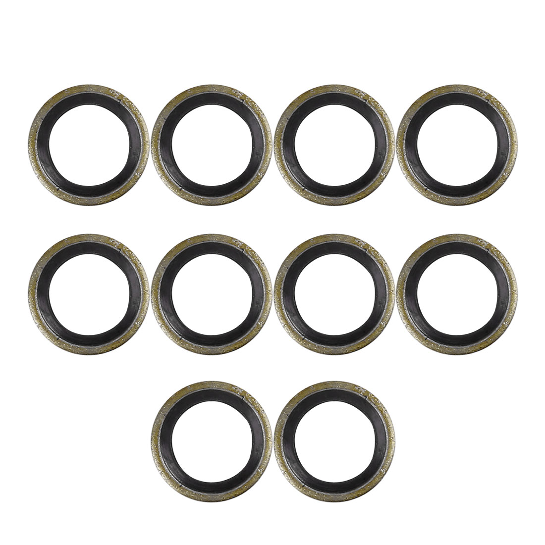 10pcs M10 Bronze Tone Car Engine Oil Drain Crush Flat Bonded Washer Gaskets