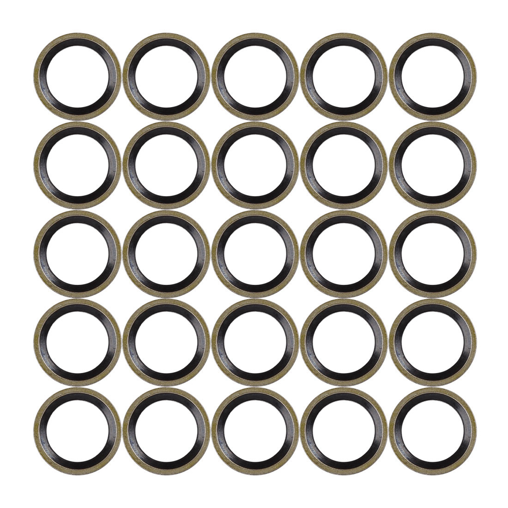 25pcs M12 Bronze Tone Car Engine Oil Drain Crush Flat Bonded Washer Gaskets