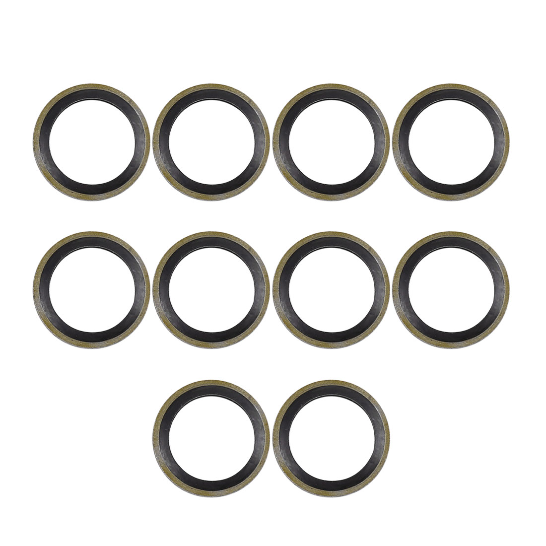 10pcs M14 Bronze Tone Car Engine Oil Drain Crush Flat Bonded Washer Gaskets