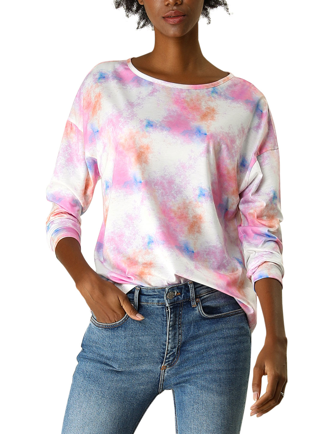 Allegra K Women's Boat Neck Batwing Sleeves Casual Loose Dye T Shirt Pink XL