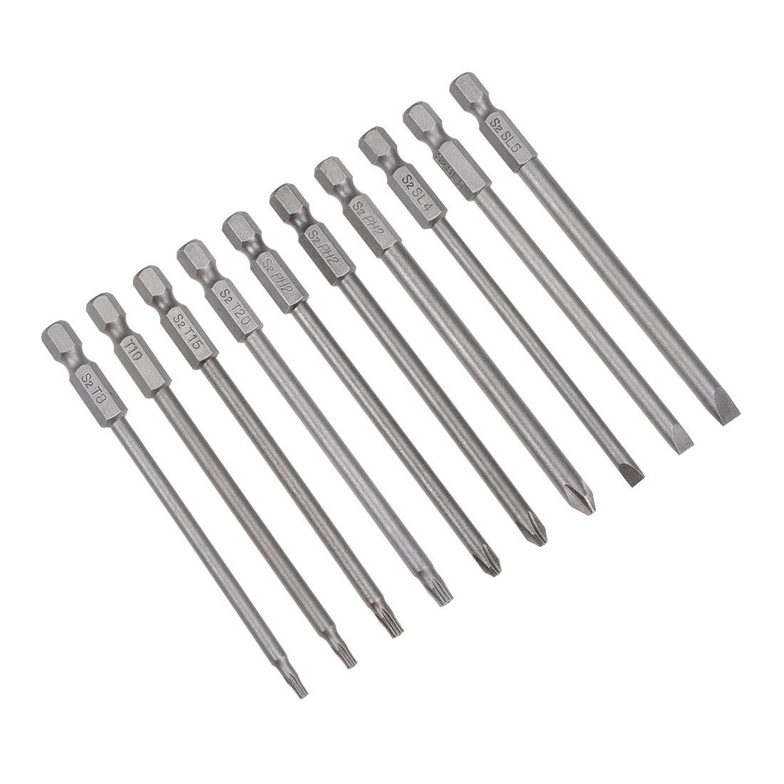 Screwdriver Bits Set 10pcs 1/4 Inch Hex Shank Magnetic Phillips Torx Slotted