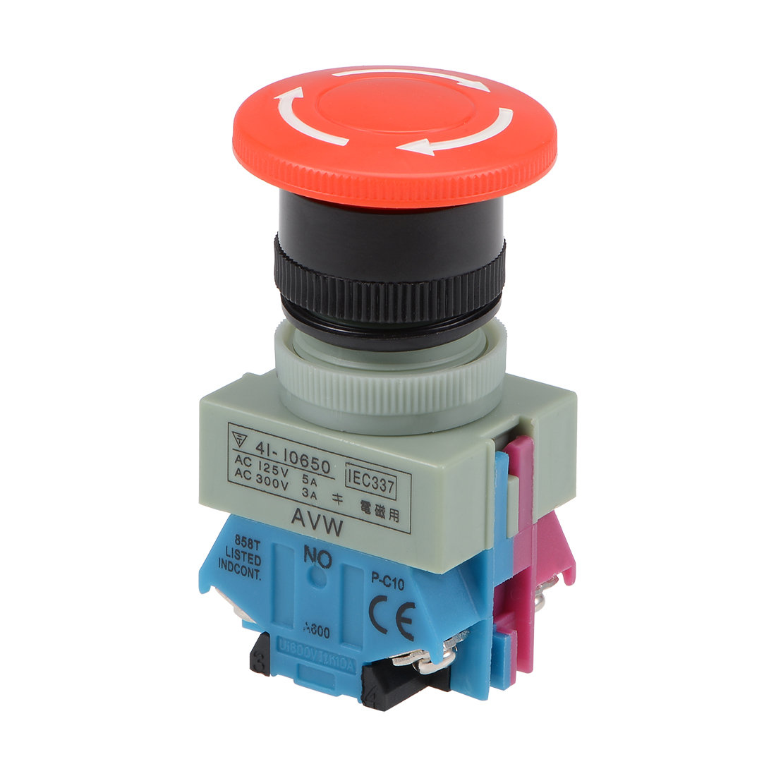 Emergency Stop Rotary Switch 2 Positions 1NO 1NC Latching Push Button Switches