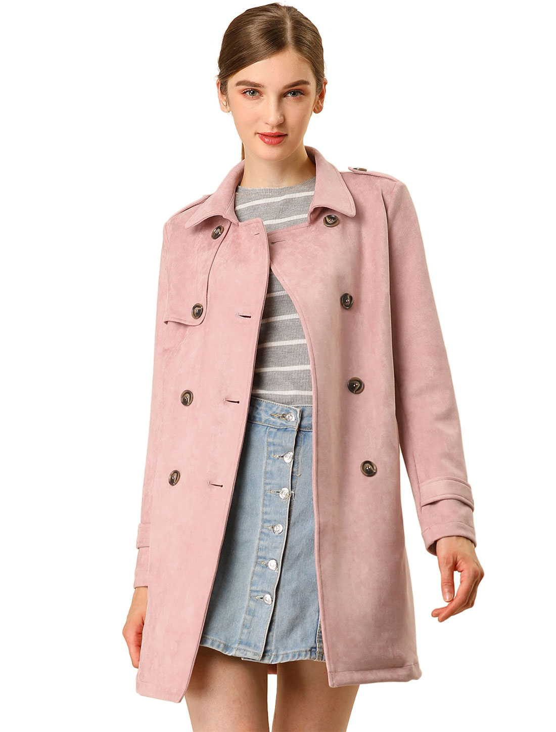 Allegra K Women Faux Suede Trench Coat Jacket with Belt Pink S