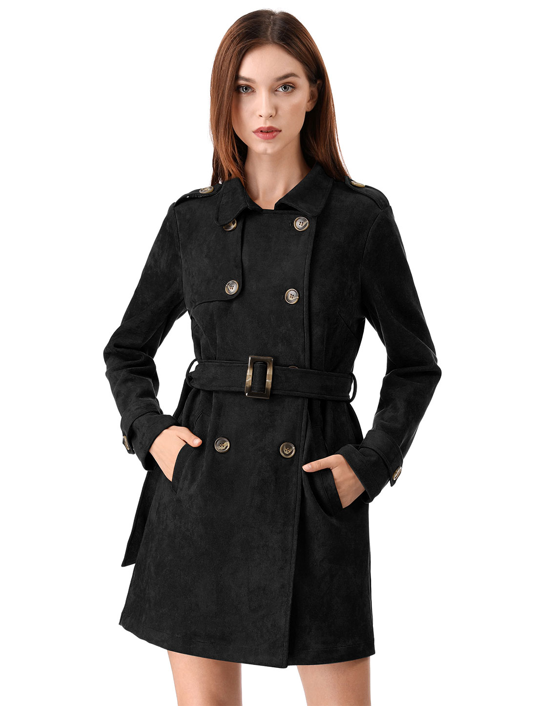 Allegra K Women Faux Suede Trench Coat Jacket with Belt Black XS