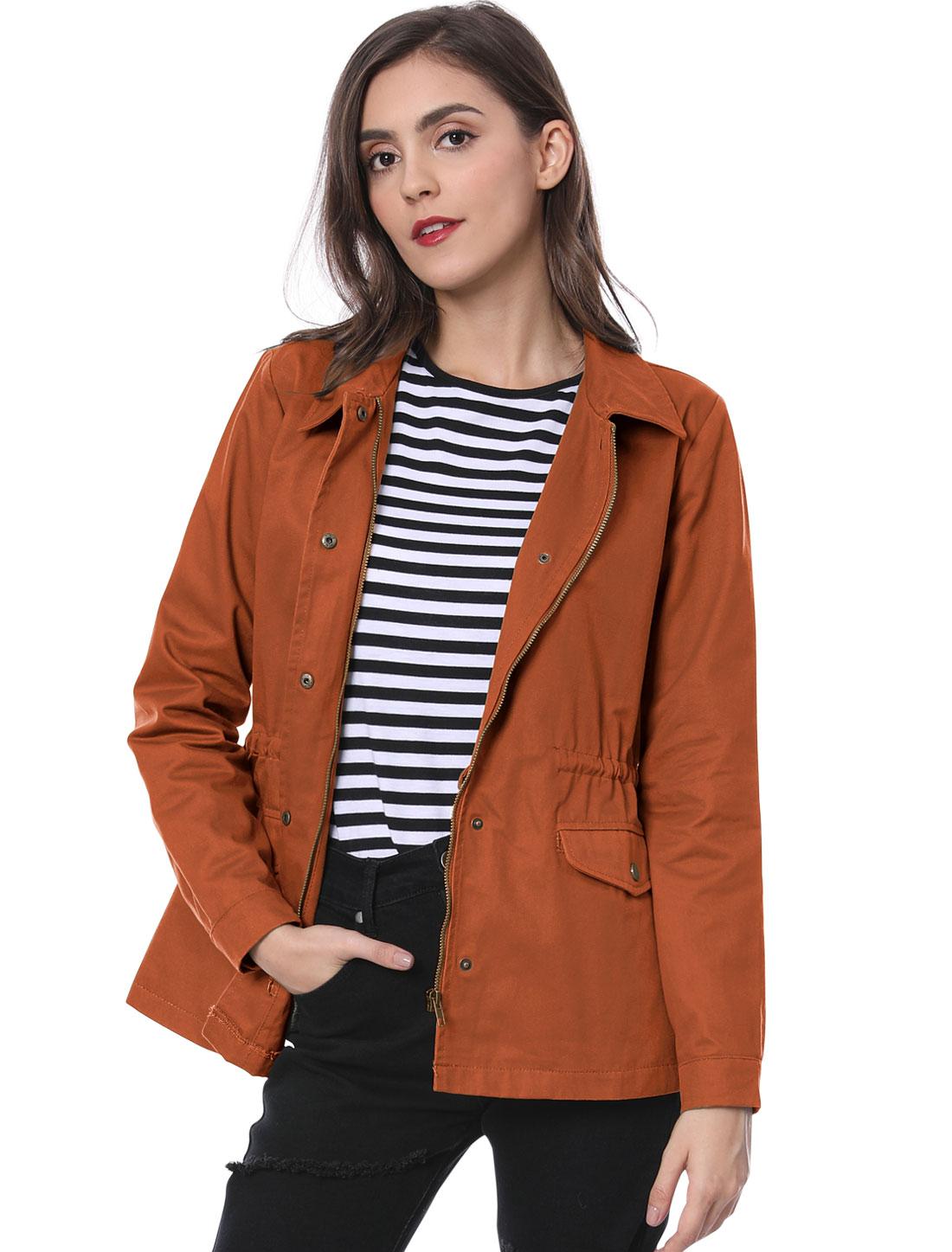 Women's Drawstring Waist Flap Pockets Lightweight Utility Jacket Burnt Orange M